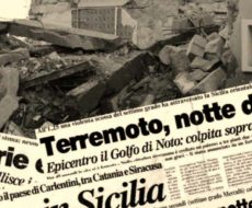 articoli di giornali titolano il disastro fatto dal terremoto del 13 dicembre 1990