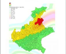 Cartina rappresentante la classificazione sismica del veneto