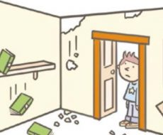 info grafica che mostra un uomo che osserva l'interno di casa sua distrutta dal sisma