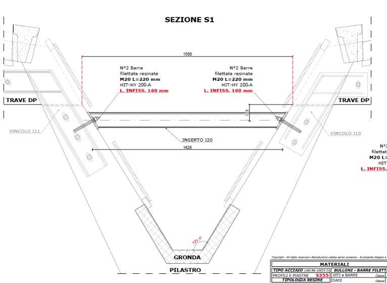 disegno tecnico di un pilastro a y tipico dei prefabbricati Zingone