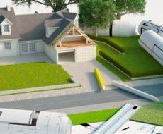 progetto in 3D rappresentante una villa con giardino con progetti sullo sfondo