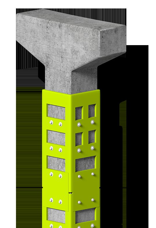 pilastro prefabbricato con camicia antisismica in acciaio