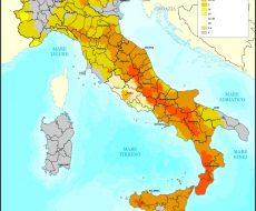 cartina dell'italia con mappa dei sisma